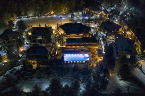 A bird's-eye view of Aurora Resort & Spa
