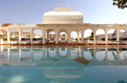 The swimming pool at or close to Taj Lake Palace Udaipur