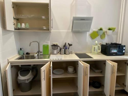 A kitchen or kitchenette at Apartments on Dachnaya 1