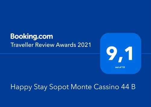 A certificate, award, sign or other document on display at Happy Stay Sopot Monte Cassino 44 B