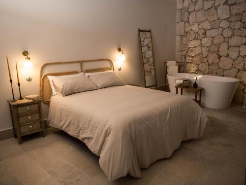 Cama o camas de una habitación en Casas de San Pedro