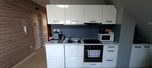 A kitchen or kitchenette at Hétvezér Penthouse Apartments