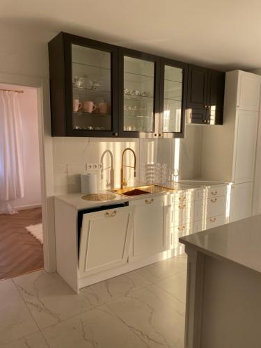 A kitchen or kitchenette at Apartament złoty