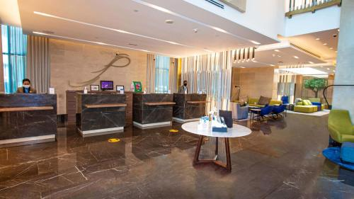 The lobby or reception area at City Premiere Hotel Apartments
