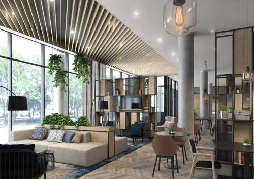 The lounge or bar area at Courtyard by Marriott Szczecin City