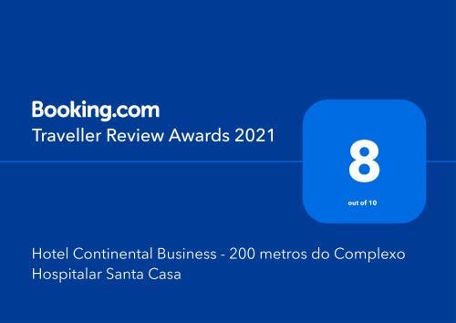 Um certificado, prêmio, placa ou outro documento exibido em Hotel Continental Business - 200 metros do Complexo Hospitalar Santa Casa