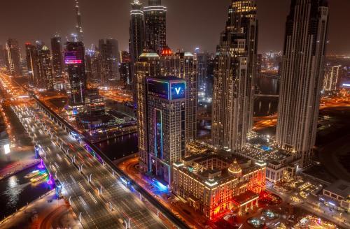 A bird's-eye view of V Hotel Dubai, Curio Collection by Hilton