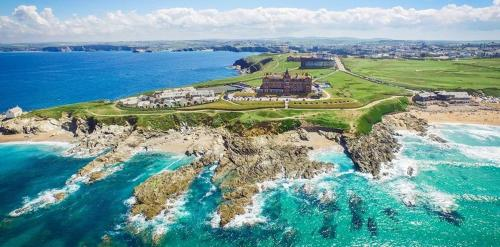 A bird's-eye view of The Headland Hotel and Spa