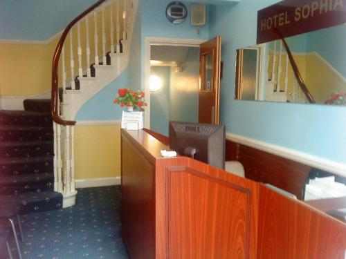 The lobby or reception area at Hotel Sophia
