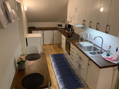 A kitchen or kitchenette at Uppsala Lägenhetshotell