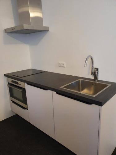A kitchen or kitchenette at Hotel Courage Waalkade
