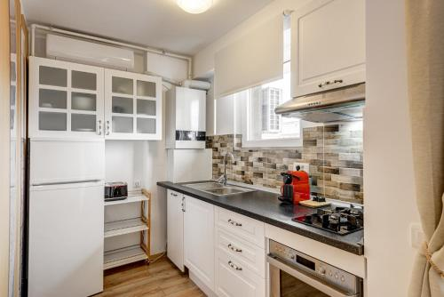 A kitchen or kitchenette at Bucharest Airport Apartments