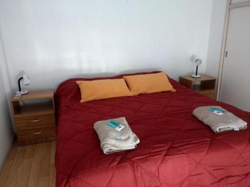 Una cama o camas en una habitación de AMUEBLADOS COMAHUE - Pleno Centro 2 dormitorios