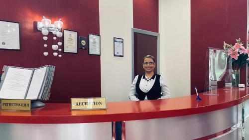 Лобби или стойка регистрации в Гостиница Москомспорта