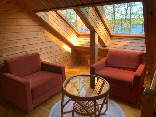 A seating area at Härkäniemi Cottages