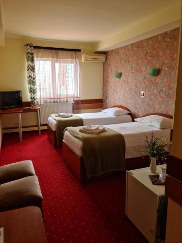 Un pat sau paturi într-o cameră la Hotel Olimp