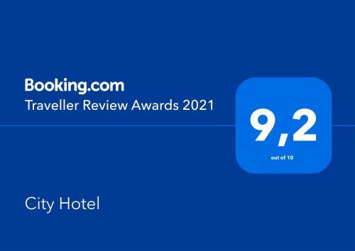 Сертификат, награда, вывеска или другой документ, выставленный в City Hotel