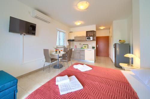 Televízia a/alebo spoločenská miestnosť v ubytovaní Apartments Ivica Krk Island