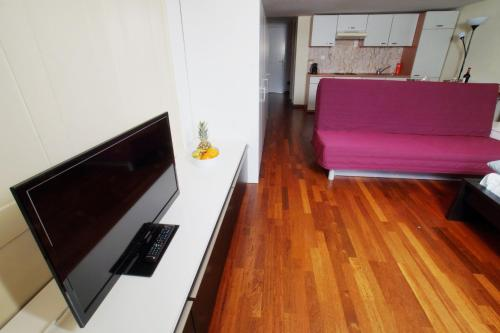 A television and/or entertainment center at HITrental Niederdorf - Apartments