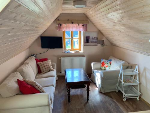 Posezení v ubytování Apartmán Hrabětice Jizerské Hory