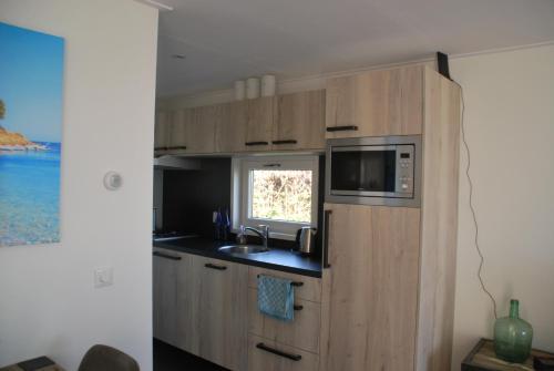 Een keuken of kitchenette bij Chalet Veluwemeerzicht Elburg