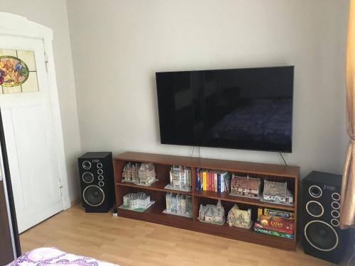 Telewizja i/lub zestaw kina domowego w obiekcie Villa Otium z prywatnym ogrodem