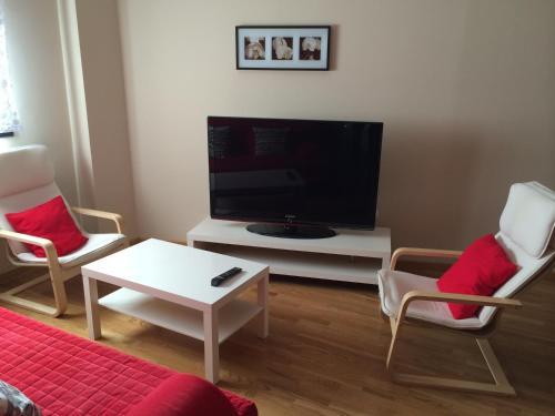 Una televisión o centro de entretenimiento en Alojamiento Losillas 2