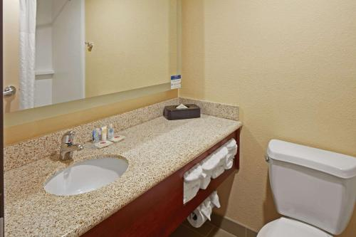 A bathroom at Comfort Suites Outlet Center