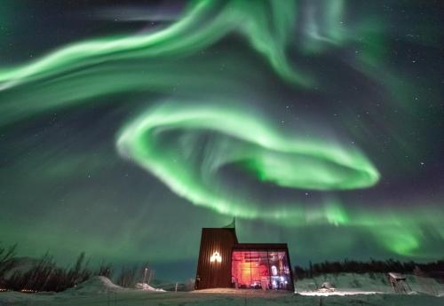 Aurora Fjord Cabins in de winter