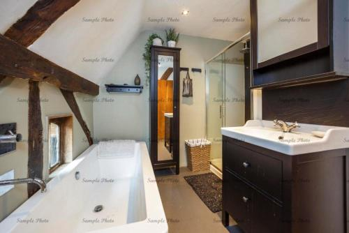 A bathroom at The Buttery
