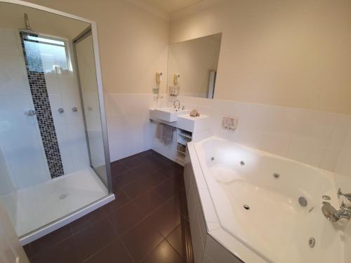 A bathroom at Golden Reef Motor Inn