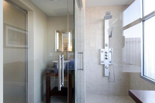 A bathroom at SoHo 54