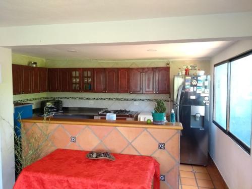 A kitchen or kitchenette at Casa Galeria Guatape