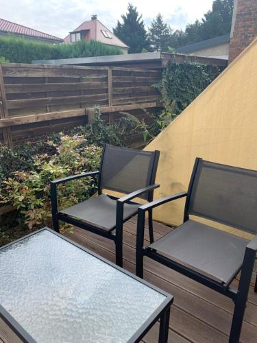 A balcony or terrace at die Senfbude - wunderschöne Apartments für 4 Personen mit Stellplatz