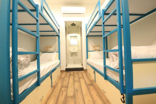 A bunk bed or bunk beds in a room at Blue Beds Hostel