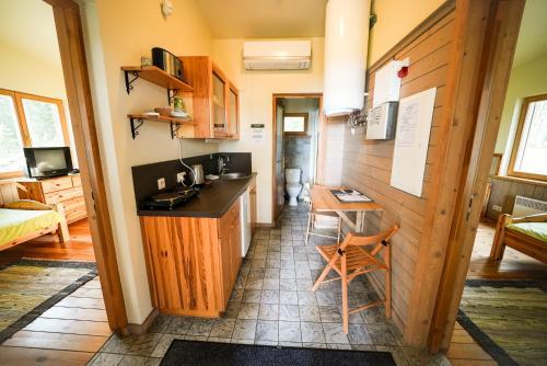 """A kitchen or kitchenette at LVM tūrisma un atpūtas centrs """"Spāre"""""""