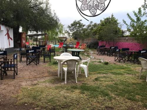 A restaurant or other place to eat at Shanti Hostel