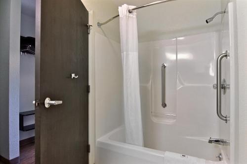 A bathroom at Motel 6-Gilman, IL