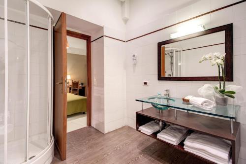 A bathroom at Hotel St. Moritz