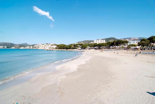 En strand vid eller i närheten av lägenhetshotellet