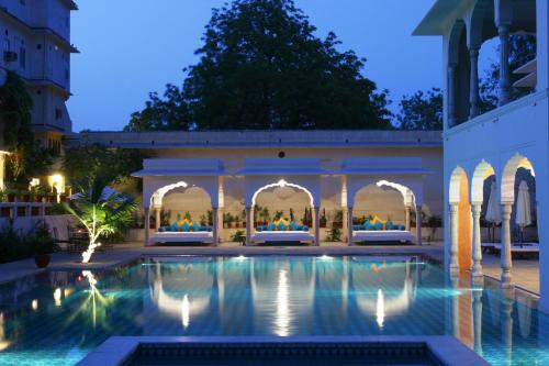 The swimming pool at or close to Samode Haveli