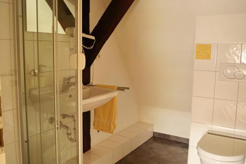 A bathroom at Pension Webstuhl
