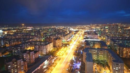 Общий вид на город Красноярск или вид на город из хостела