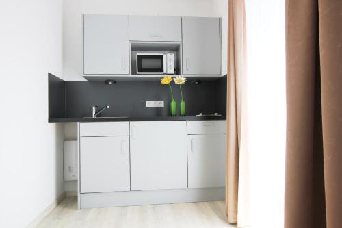 A kitchen or kitchenette at Aparthotel Gartenstadt