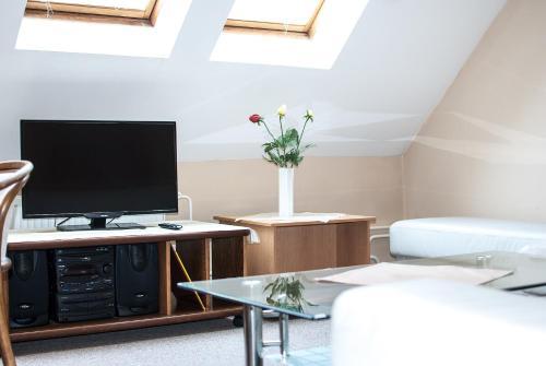 Televízia a/alebo spoločenská miestnosť v ubytovaní Penzión Evergreen