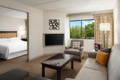 A television and/or entertainment center at Sheraton Suites Orlando Airport Hotel