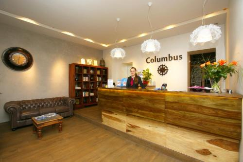 The lobby or reception area at Hotel Columbus