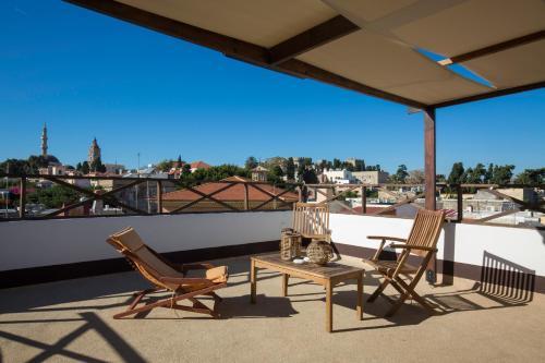 A balcony or terrace at Evdokia Hotel