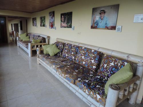 A seating area at Panorama Café Hostel