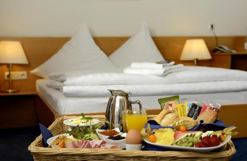 Breakfast options available to guests at Hotel Bavaria Brehna